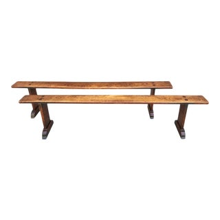 Long Chestnut Benches, 19th Century - A Pair For Sale