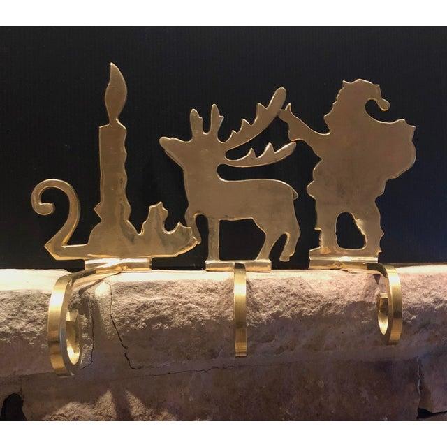Vintage Brass Stocking Hooks Santa, Reindeer and Candle Hangers - Set of 3 For Sale - Image 12 of 12