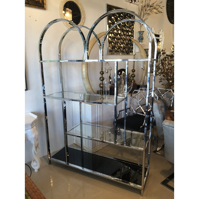 Brass Vintage Arched Chrome Glass Display Shelf Shelves Etagere For Sale - Image 7 of 13