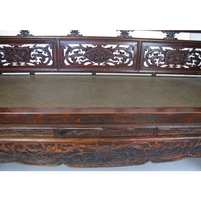 Brown 1900s Antique Chinese Daybed With Hand Carved Railing For Sale - Image 8 of 11