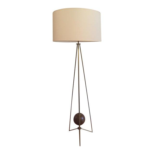 Jonathan Adler Ohai Walnut & Brass Lamp - Image 1 of 10