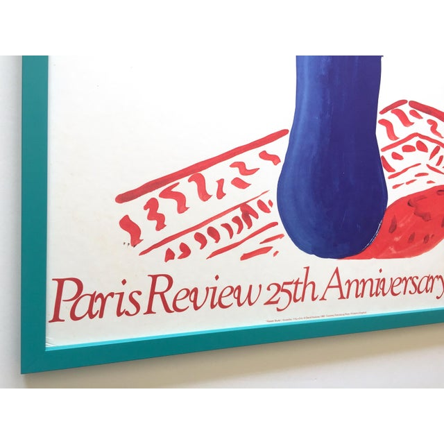 """David Hockney Rare Vintage 1981 Lithograph Print Framed"""" Paris Review """" 25th Anniversary Collector's Poster For Sale In Kansas City - Image 6 of 13"""