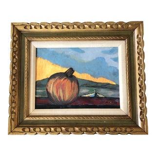 Vintage Mid Century Modernist Abstract Landscape With Pumpkin & Figure Signed Carved Wood Frame For Sale
