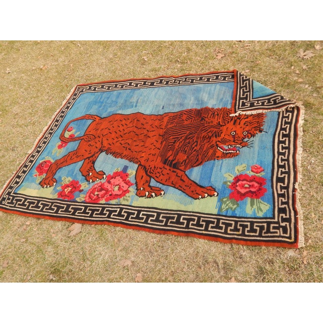 Vintage Gabbeh Lion Kilim Rug - 5'1'' X 7'3'' For Sale - Image 11 of 13