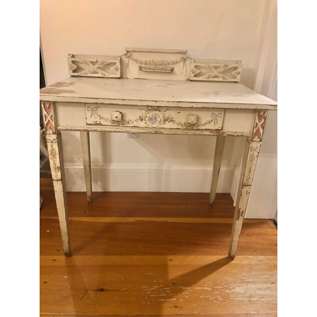 French Antique Shabby Chic Hand Painted Floral Writing Desk For Sale - Image 3 of 11