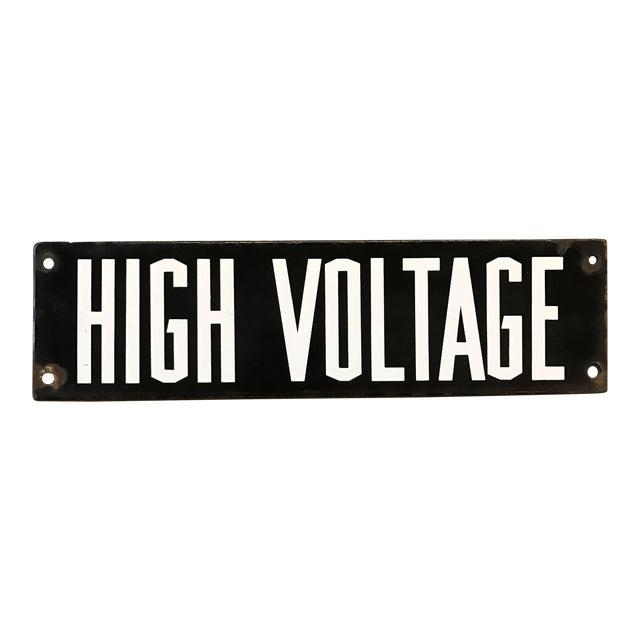 Vintage Industrial Enamel High Voltage Sign - Image 1 of 5