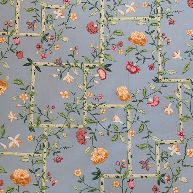 Vintage 1977 Brunschwig & Fils Sky Blue Chinese Bamboo Chintz Fabric- 2 Yards For Sale - Image 11 of 11