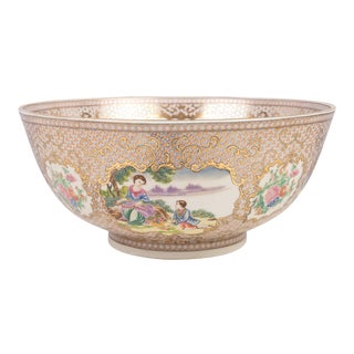 "Oriental European Style Decorative Porcelain Bowl - 14"" For Sale"