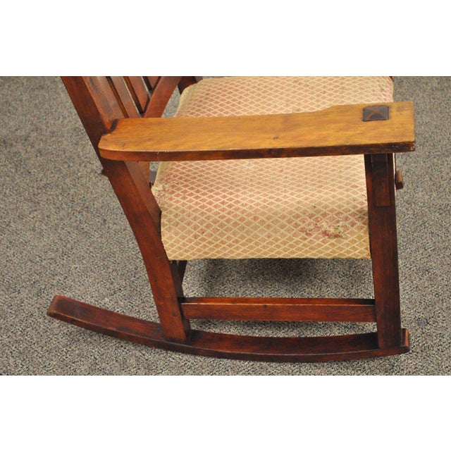 Antique Solid Maple Mission Arts & Crafts Rocker Rocking Chair Stickley Era - Image 8 of 10