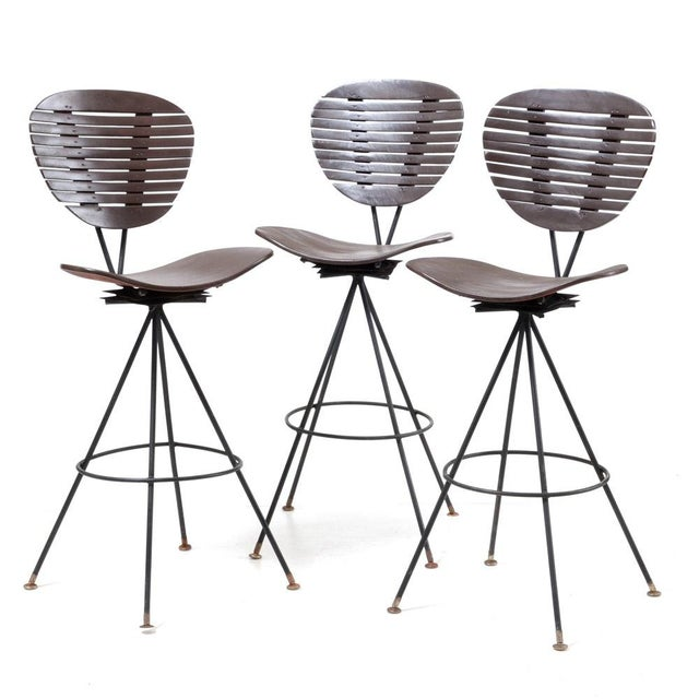 Mid-Century Modern Wood and Wrought Iron Bar Stools - Set of 3 For Sale - Image 12 of 12