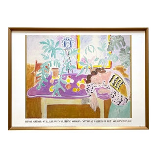 "Henri Matisse Vintage 1989 Lithograph Print Framed Museum Poster "" Still Life With Sleeping Woman "" 1940 For Sale"