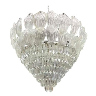 Monumental Murano Glass Leaf and Prism Chandelier For Sale