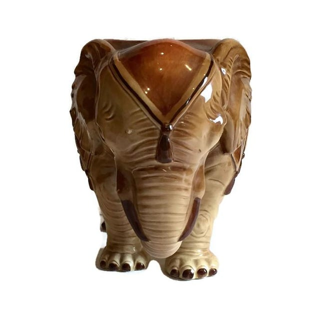 Fitz & Floyd Mid-Century Modern India Elephant Ceramic Planter - Image 3 of 8