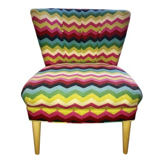1930s Mid Century Modern Completely Restored Chevron Accent Chair