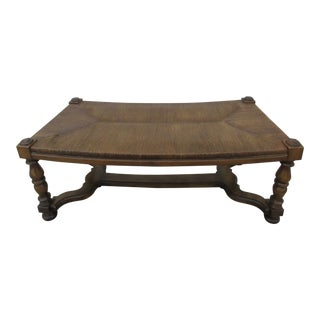 William and Mary Style Curved Rush Seat Bench For Sale