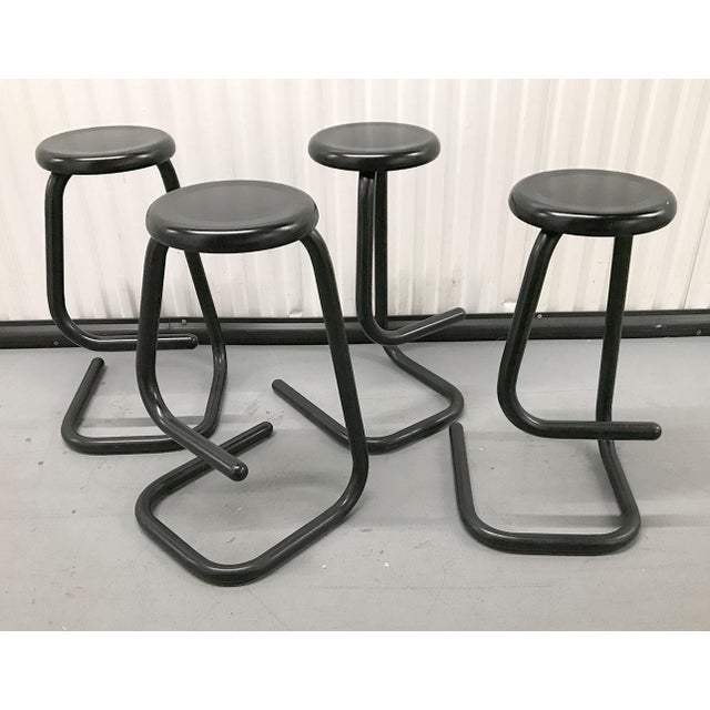 """Fabulous set of Haworth for Kinetics """"Paperclip"""" bar stools by Philip Salmon and Hugh Hamilton, circa early 1970s. Each..."""