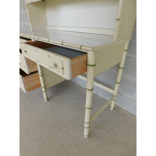 Faux Bamboo Thomasville Allegro Regency Style Faux Bamboo 3pc Desk Bookshelf and Chair For Sale - Image 7 of 13