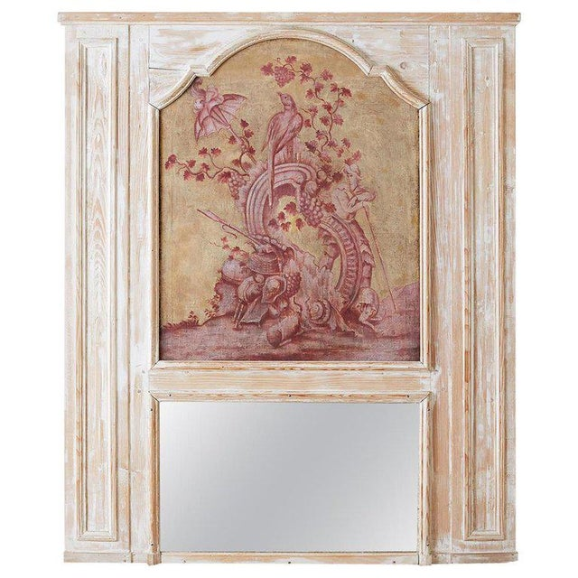 19th Century French Provincial Painted Trumeau Mirror For Sale - Image 13 of 13