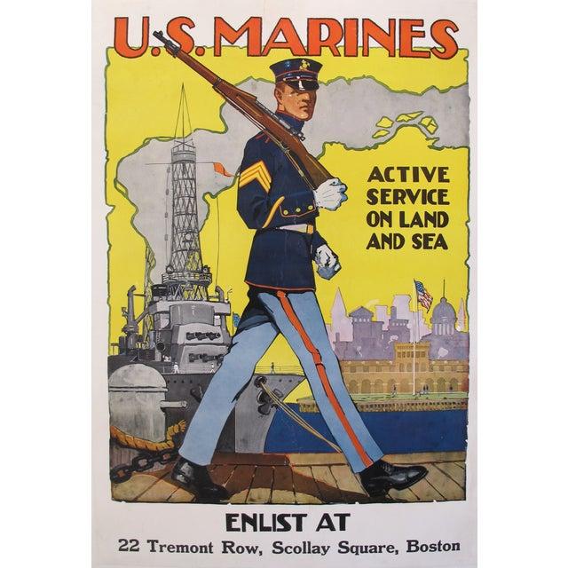 1918 Original American Marine Recruitment Poster - Image 1 of 4