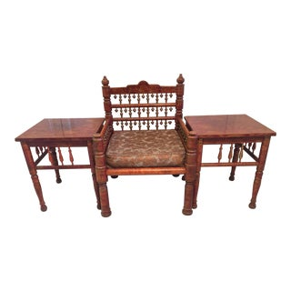 Mid Century Sankheda Traditional Indian Seating Set- 3 Pieces For Sale