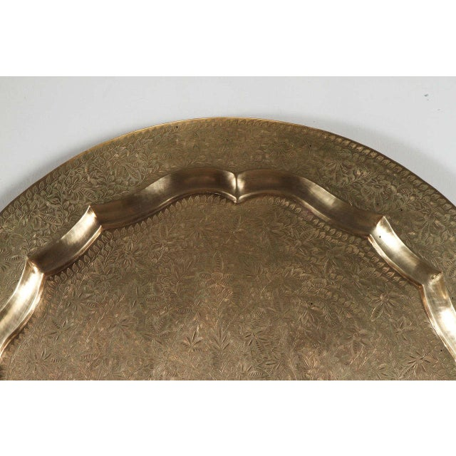 Anglo-Indian round brass tray wall hanging, amazing artwork, very finely hand-hammered. Has a hook in the back for...