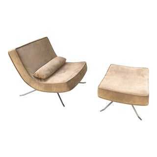 Vintage Christian Werner Tan Ligne Roset 'Pop' Easy Lounge Chair and Ottoman For Sale