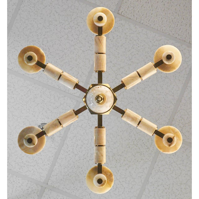 Vintage Italian Brass Onyx Chandelier For Sale - Image 4 of 11