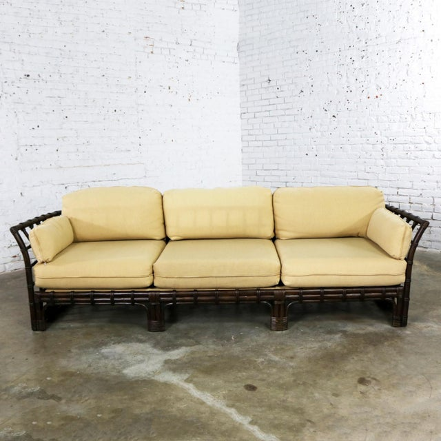 Brown Jordan Windowpane Dark Brown Rattan Sofa With Straw Colored Cushions For Sale - Image 13 of 13