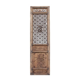 Chinese Vintage Wood Finish People Flower Accent Wall Panel Headboard For Sale