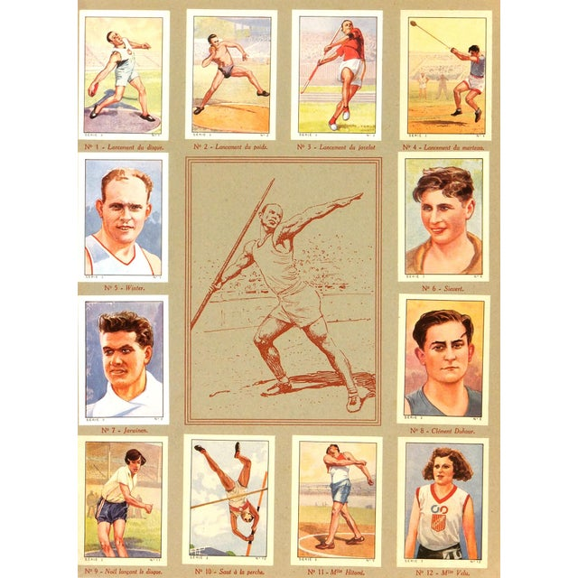 Vintage Athletics Print, France 1937 For Sale