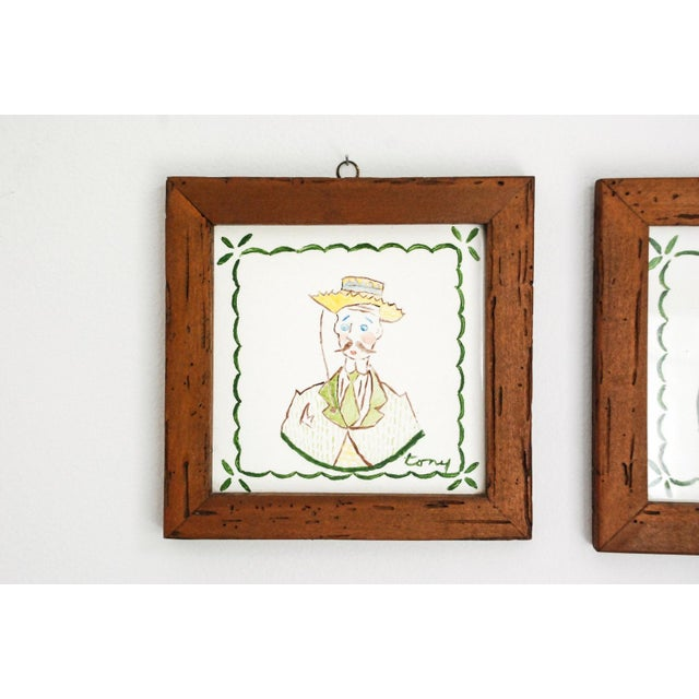 Mid-Century Modern Mid Century Villeroy & Boch Hand Painted Ceramic Framed Wall Tiles - A Pair For Sale - Image 3 of 6