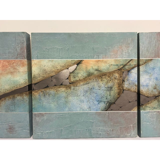 1980s Mid-Century Three Piece Mixed Media Painting For Sale - Image 5 of 12
