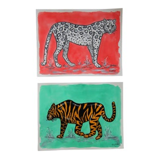 Chinoiserie Tiger Leopard Painting by Cleo Plowden - a Pair For Sale