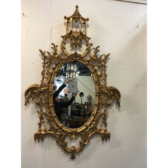 Beautifully carved , Chinese Chippendale Style mirror by LaBarge. Italian label on the reverse.