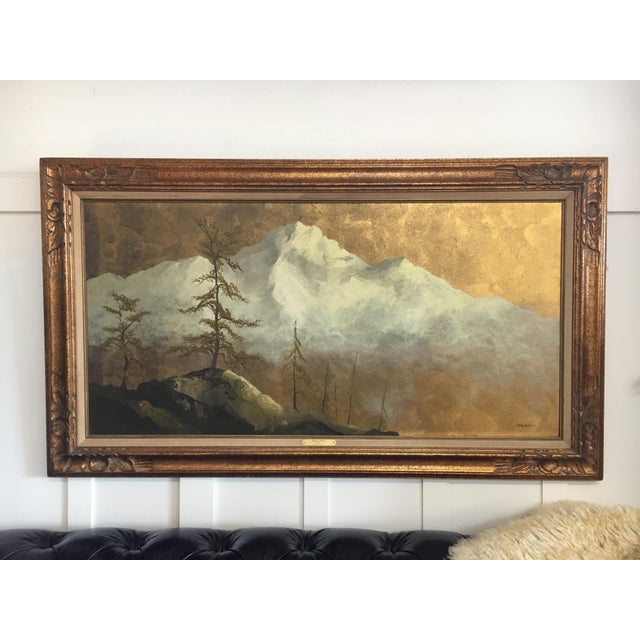 Original Gold Leaf on Masonite Painting by Les Parisch - Grand Tetons For Sale - Image 12 of 12