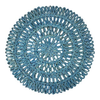 Aqua Woven Round Placemats/Chargers, S/8 For Sale
