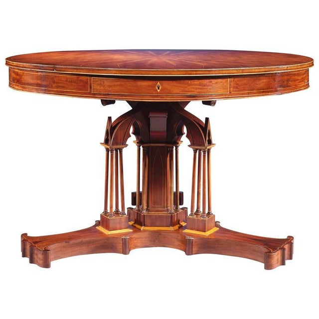 Mid 19th Century Mahogany Drum Table by Alphonse Giroux et Cie For Sale - Image 5 of 5