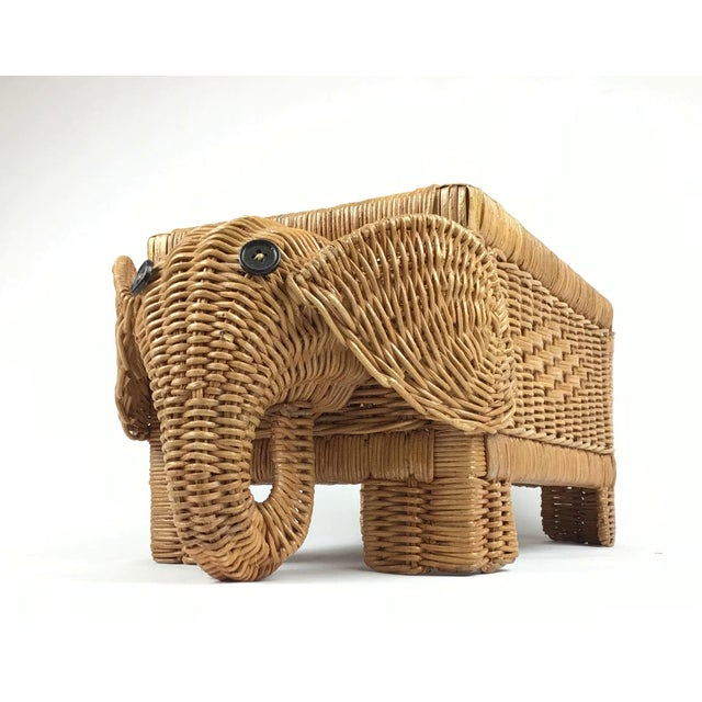 African 1970s Vintage Wicker Elephant Planter For Sale - Image 3 of 12