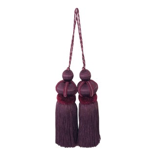 "Pair of Mulberry Key Tassels With Cut Ruche - Tassel Height 5.75"" For Sale"