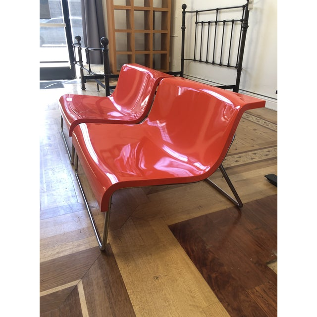 Mid-Century Modern Kartell Piero Lissoni Orange Form Lounge Chairs - a Pair For Sale - Image 3 of 10