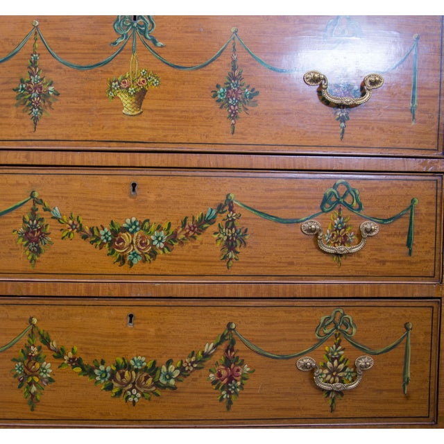 English Adams Style Painted Satinwood Secretary For Sale - Image 4 of 10