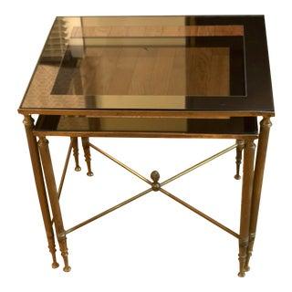 Hollywood Regency La Barge Brass Smokey Glass Nesting Tables - Set of 2 For Sale