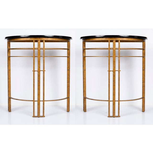 Gilt Iron and Granite Demi Lune Consoles For Sale - Image 4 of 10