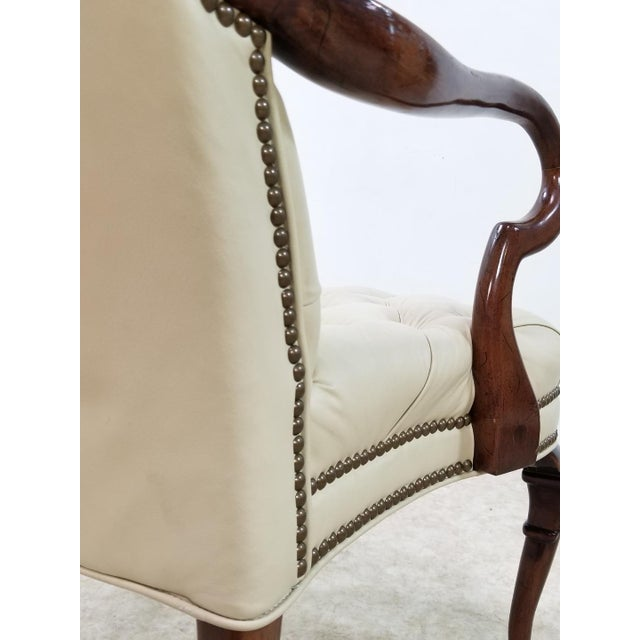 1970s Mid Century Executive Leather and Wood Tufted Chesterfield Armchair For Sale - Image 5 of 13
