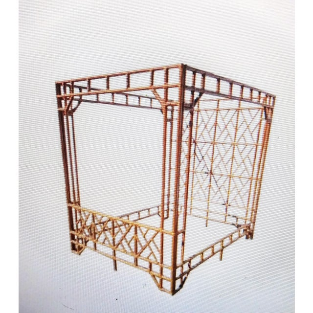 Vintage 70's Monumental Bamboo Chinese Chippendale Palm Beach Regency Canopy Queen Size Bed Frame For Sale - Image 9 of 9