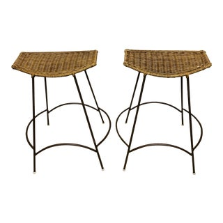 Mid-Century Modern Wrought Iron and Wicker Bar Stools by Arthur Umanoff - a Pair For Sale