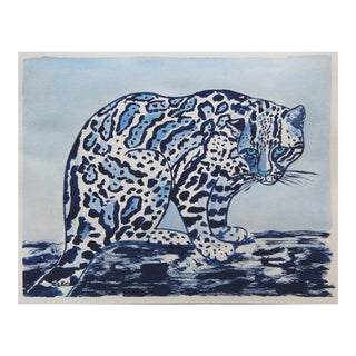 Chinoiserie Ocelot Leopard Painting by Cleo Plowden For Sale