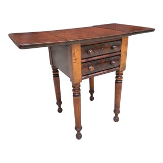 19th Century Early American Drop Leaf Table With 2 Drawers For Sale