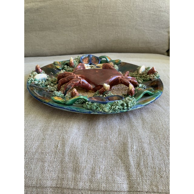 This is a truly intricate Minton Majolica Palissy plate depicting a crab in the center of the plate with mussels and...