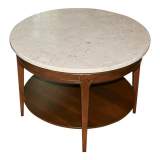 Mid Century Modern Round Marble Top Table For Sale